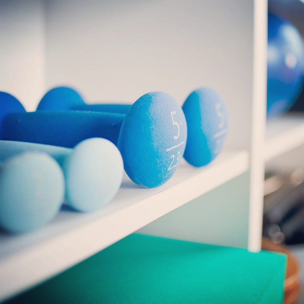 Blue Hand Weights on a Shelf