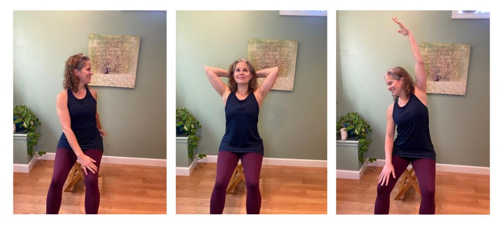 3 image collage of Elaine Economou stretching