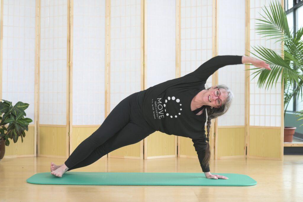 MOVE Trainer Mary Falcon teaching a livestream Pilates class
